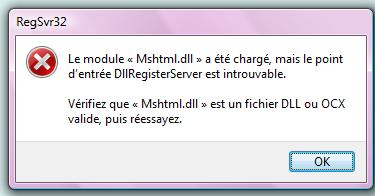 dllregisterserver introuvable