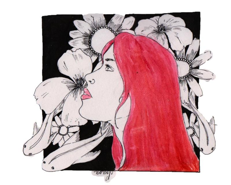 dessin femme profil fleurs et poisson