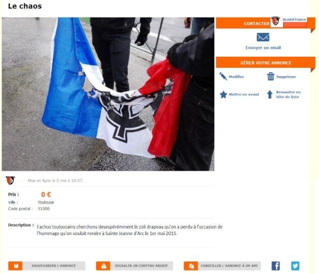 Objets trouvés : fachos toulousains cherchons désespérément le zoli drapeau perdu à l'occasion de l'hommage qu'on voulait rendre à Sainte Jeanne d'Arc le 1er mai 2015.
