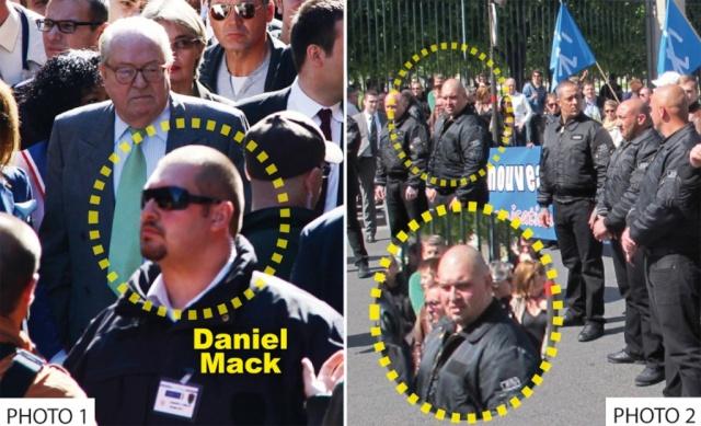 Jean-Marie Le Pen protégé par un membre des JNR.